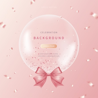 Celebration background with soft colored realistic balloons