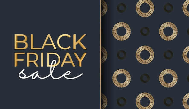 抽象的な金の装飾が施されたダークブルーのブラックフライデーのお祝いバナーテンプレート
