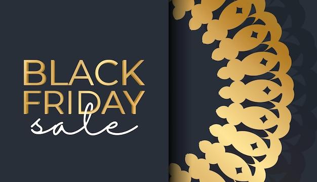 幾何学的な金のパターンとダークブルーのブラックフライデーのお祝いバナーテンプレート