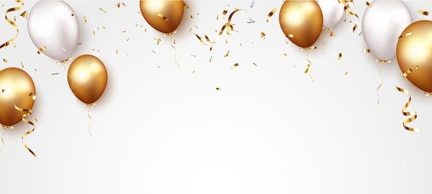 金の紙吹雪と風船でお祝いのバナー
