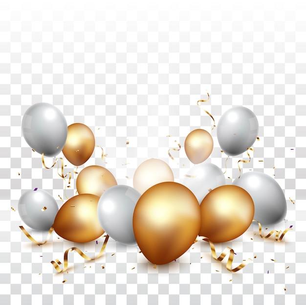 Праздничный баннер с золотым конфетти и воздушными шарами