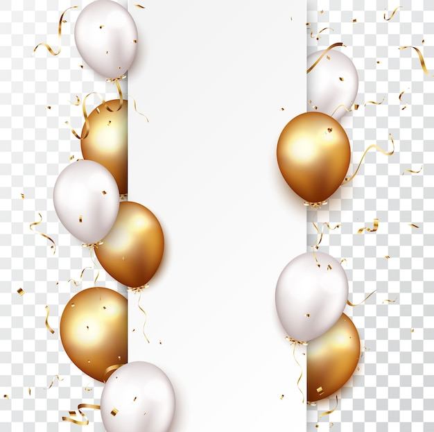 Celebration banner with gold confetti and balloons