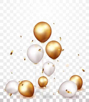 Celebration banner with gold, silver balloons and confetti