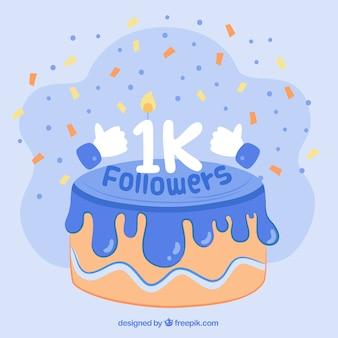 1k 추종자의 축하 케이크 배경