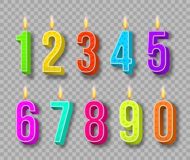 축하 케이크 촛불 굽기 조명 및 생일 번호