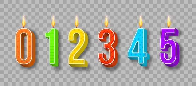 Celebration cake candles burning lights illustration