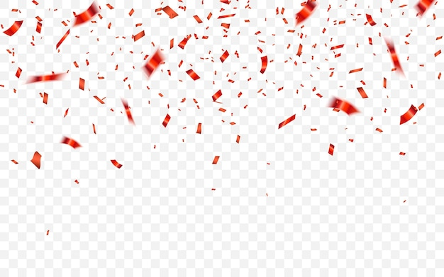 赤い色の光沢のあるキラキラ紙吹雪に落ちるお祝いカーニバル