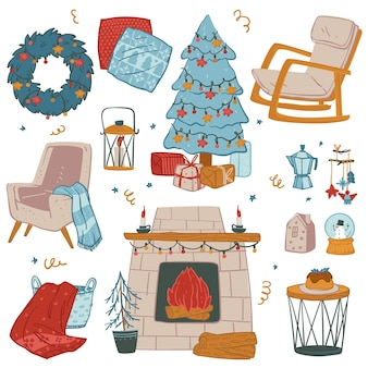 Celebration of christmas at home, decoration for winter holidays preparations