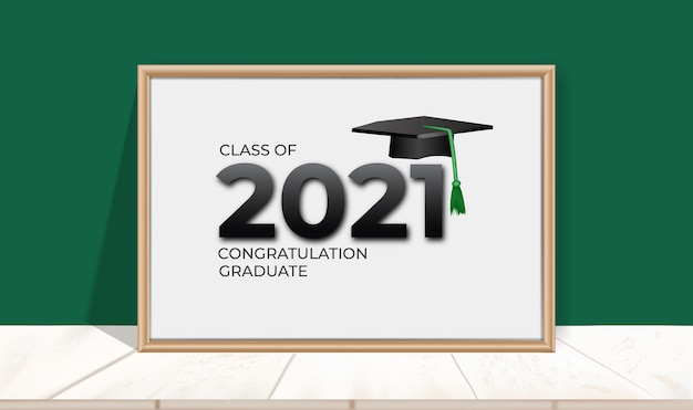 2021 년 축하 반. 칠판에 졸업 축하 프리미엄 벡터