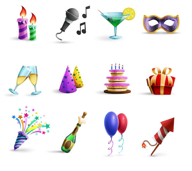 Celebration colorful cartoon style  icons set