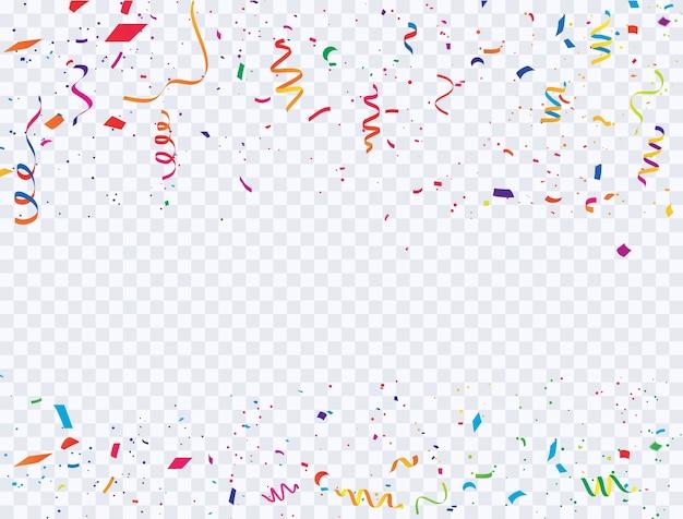 Celebration confetti and colorful ribbons carnival.
