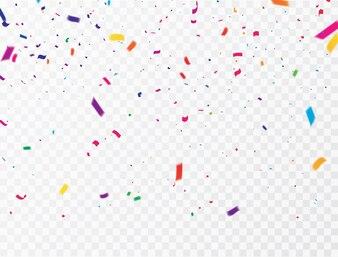 Празднование конфетти Красочные ленты. роскошная приветственная богатая карта.
