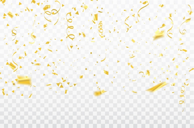 Celebration confetti and gold ribbons.