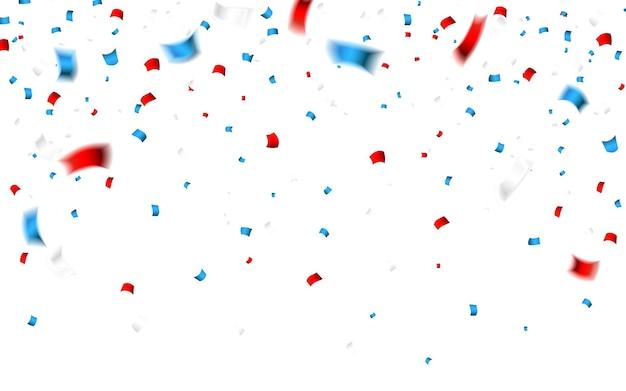 アメリカのナショナルカラーのお祝い紙吹雪。米国旗の色の休日の紙吹雪。 7月4日の独立記念日の背景。