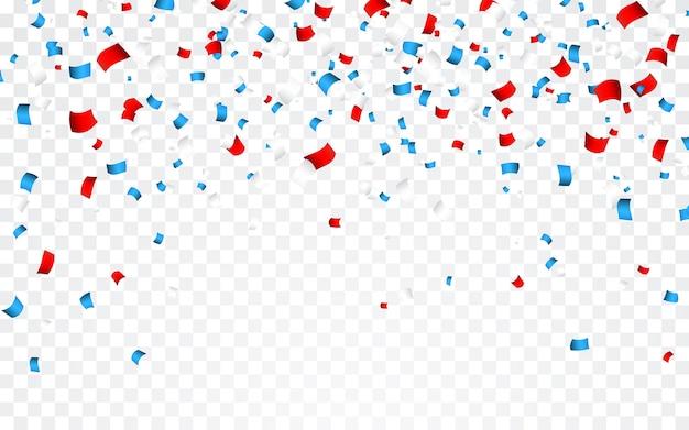 アメリカのナショナルカラーのお祝い紙吹雪。米国旗の色の休日の紙吹雪。 7月4日独立記念日