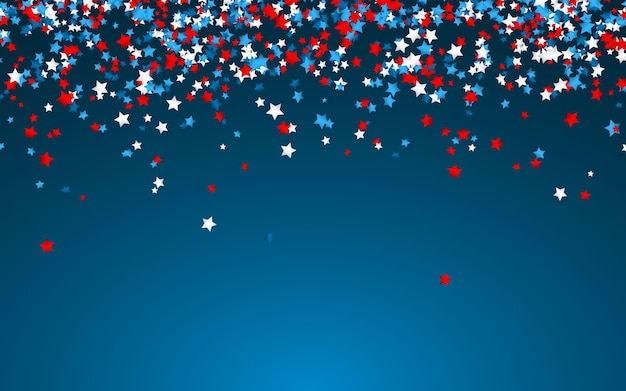 Celebration confetti in national colors of usa. holiday confetti in us flag colors. 4th july independence day