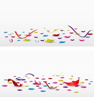 Celebration confetti set on white background