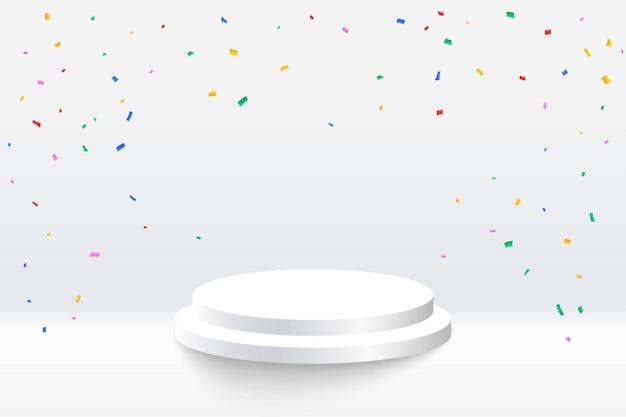Coriandoli celebrativi con piattaforma podio su sfondo bianco
