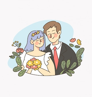 Celebration day happy marriage vector digital illustration 1