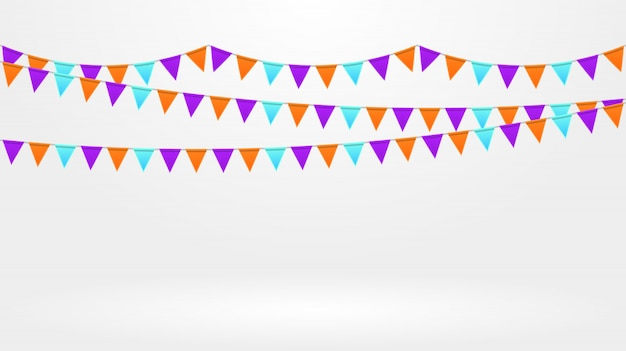 Celebration decor. bright colorful flags chain at grey background. buntings garlands