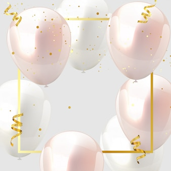 Celebration design balloon pink and white, confetti and gold ribbons.