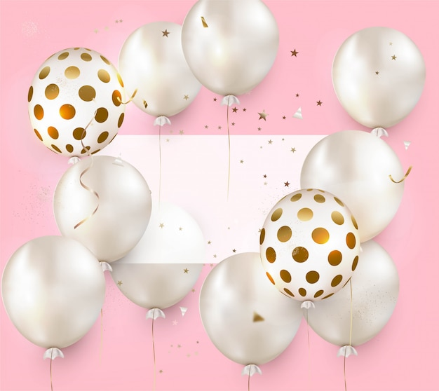 Celebration design with air balloons on a pink.  anniversary. happy birthday greeting card