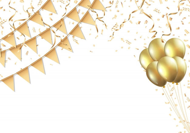 황금 깃발, 풍선, 색종이 및 깃발 배경 축하 디자인
