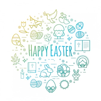 Celebration easter signs. happy easter outline illustrations