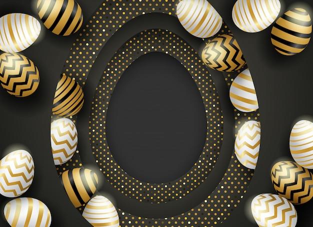 黒の背景にハッピーイースターcelebration.easter卵。