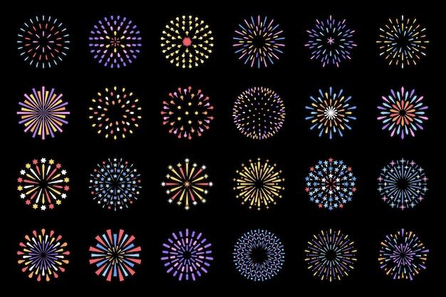 Celebration fireworks display show isolated decorative set