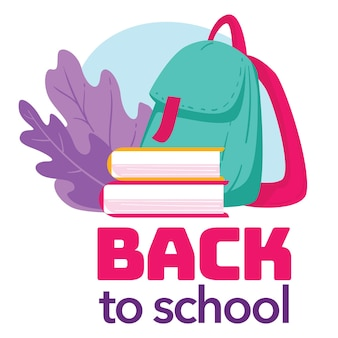 Celebration of first day in school, september greeting with new academic year. satchel with books and decorative foliage, textbooks and backpack with supplies for lessons, vector in flat style