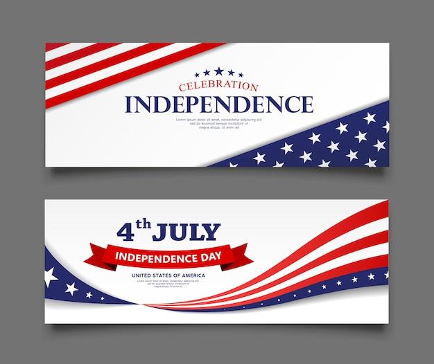 미국 독립 기념일 배너 컬렉션의 축하 깃발은 빨간색과 파란색 배경을 디자인합니다.
