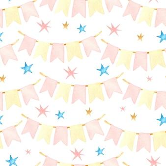 Celebration flags watercolor seamless pattern
