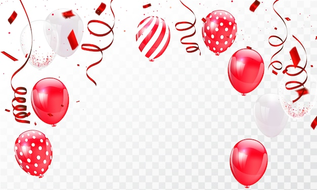 Celebration frame background template with confetti red ribbons