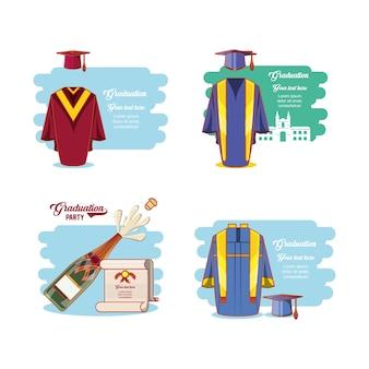 Celebration graduation card set icons