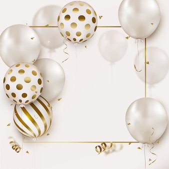Celebration greting card with white helium balloons, flying confetti on white