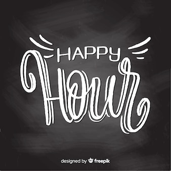 Celebration of happy hour with lettering