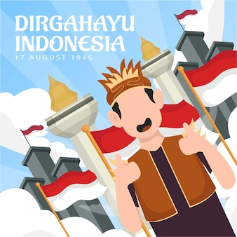 Celebration of indonesia independence day on august 17 (dirgahayu republik indonesia). indonesian national flags. vector illustration