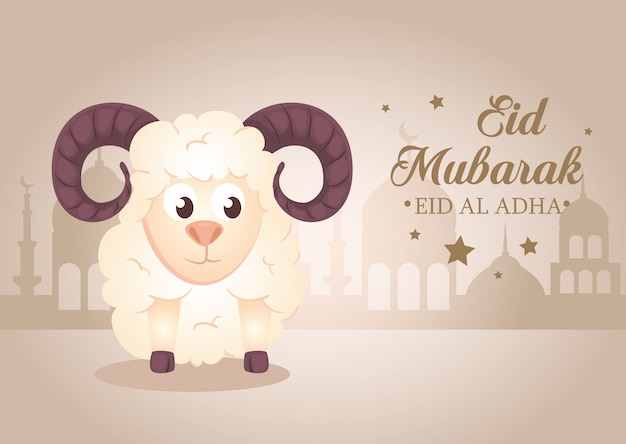 Celebration of muslim community festival eid al adha, card with sacrificial sheep and silhouette arabia city