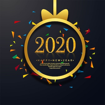 Celebration new year 2020 greeting card with creative text