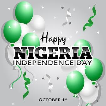 Празднование дня независимости нигерии фон с воздушными шарами и удобной иллюстрацией