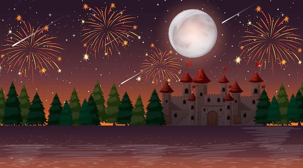 城の上のお祝いの夜