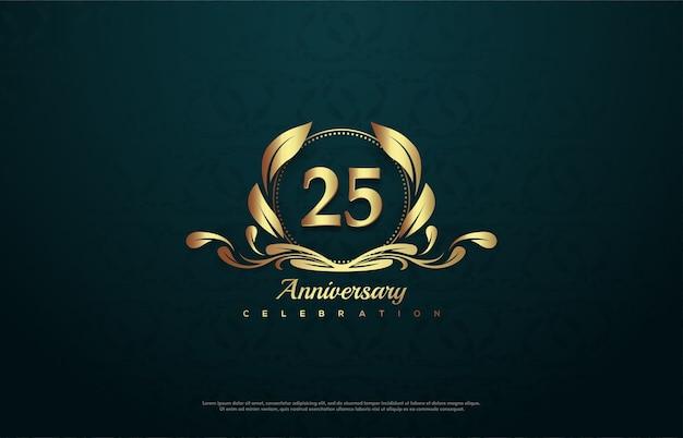Празднование 25-летия с золотым номером внутри золотой эмблемы.