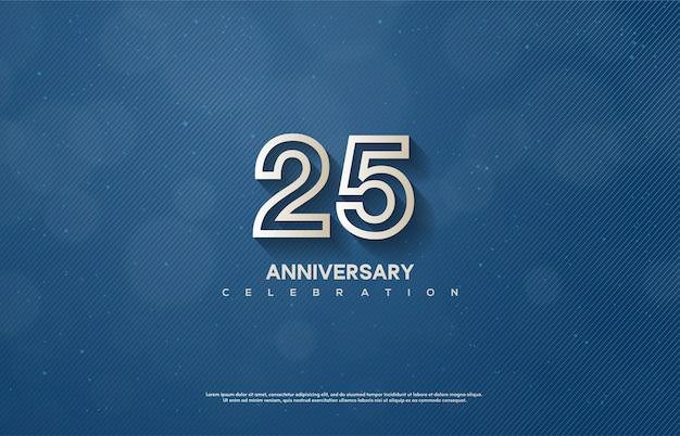 白のストライプの数字で25周年を祝います。
