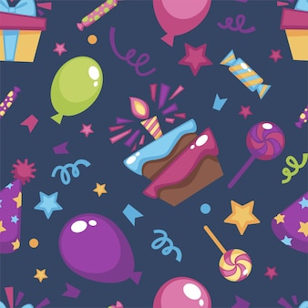 誕生日、プレゼント、ギフトのお祝い。キャンドル、インフレータブルバルーン、小さなキャンディーの紙吹雪が付いたケーキ。シームレスなパターン、背景またはプリント、装飾的なラッピング、フラットスタイルのベクトル