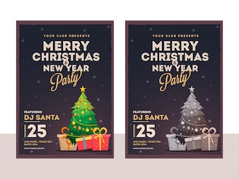 Celebration of Christmas and New Year Party flyer layout