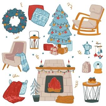 Празднование рождества дома, украшение для подготовки к зимним праздникам