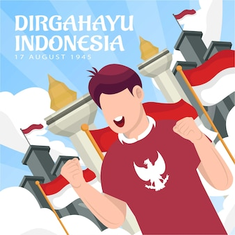 8월 17일 인도네시아 독립 기념일 축하(dirgahayu republik indonesia). 인도네시아 국기. 벡터 일러스트 레이 션