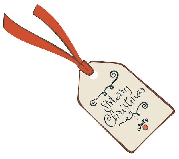 年末年始のお祝い、クリスマスの願いを込めた孤立したタグ。書道の碑文、お祭り気分、季節のイベントへのプレゼントが入ったカード。ギフトラベル、フラットスタイルのベクトル