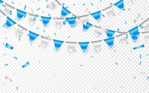 お祝いパーティーのバナー。青と銀のホイル紙吹雪と旗の花輪。